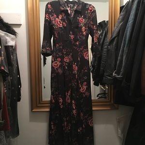 Zara floral buttondown dress